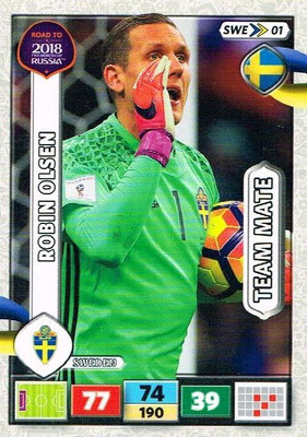 2018 - Panini Road to FIFA World Cup Russia Adrenalyn XL - N° SWE01 - Robin OLSEN (Suède)