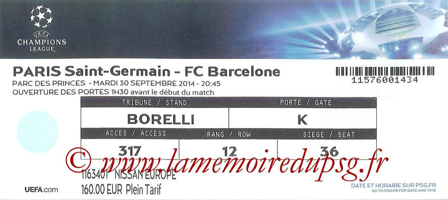 Tickets  PSG-Barcelone  2014-15