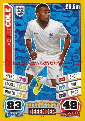 Topps Match Attax England 2014 - N° 079 - Ashley COLE (Angleterre)