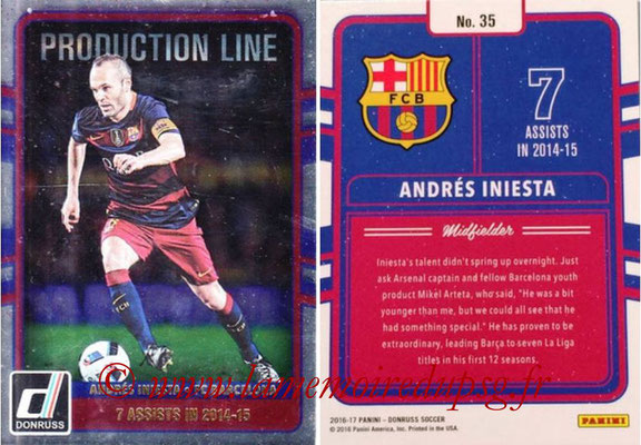 2016 - Panini Donruss Cards - N° PL35 - Andres INIESTA (FC Barcelone) (Production Line)