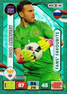 2018 - Panini Road to FIFA World Cup Russia Adrenalyn XL - N° RUS06 - Igor AKINFEEV (Russie) (Fans' Favourite)