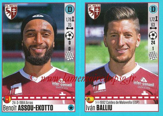 2016-17 - Panini Ligue 1 Stickers - N° 442 + 443 - Benoît ASSOU-EKOTTO + Ivan BALLIU (Metz)