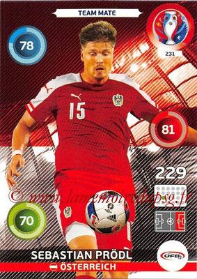 Panini Euro 2016 Cards - N° 231 - Sebastian PRODL (Autriche)