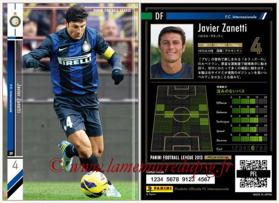 Panini Football League 2013 - PFL04 - N° 018 - Javier ZANETTI (Inter Milan)