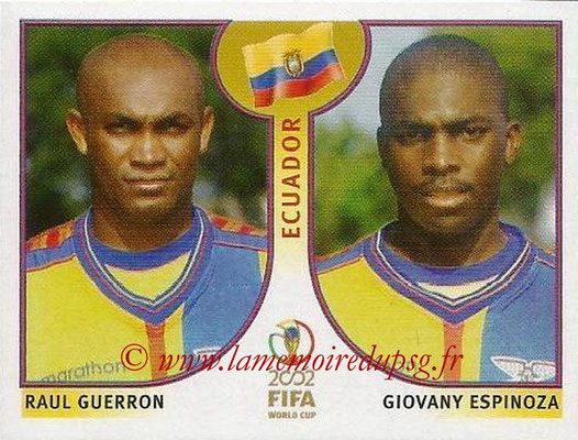 2002 - Panini FIFA World Cup Stickers - N° 515 - Raul GUERRON + Giovany ESPINOZA (Equateur)