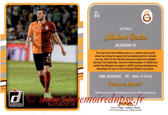 2016 - Panini Donruss Cards - N° 094 - Hakan BALTA (Galatasaray AS)