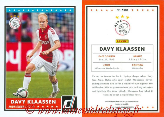 2015 - Panini Donruss Soccer - N° 100 - Davy KLAASSEN (AFC Ajax)
