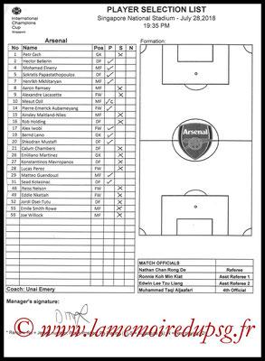 Feuilles de match  Arsenal-PSG  2018-19