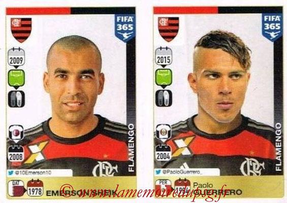 2015-16 - Panini FIFA 365 Stickers - N° 217-218 - Emerson SHEIK + Paolo GUERRERO (CR Flamengo)