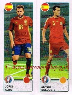 Panini Euro 2016 Stickers - N° 376 - Jordi ALBA + Sergio BUSQUETS (Espagne)