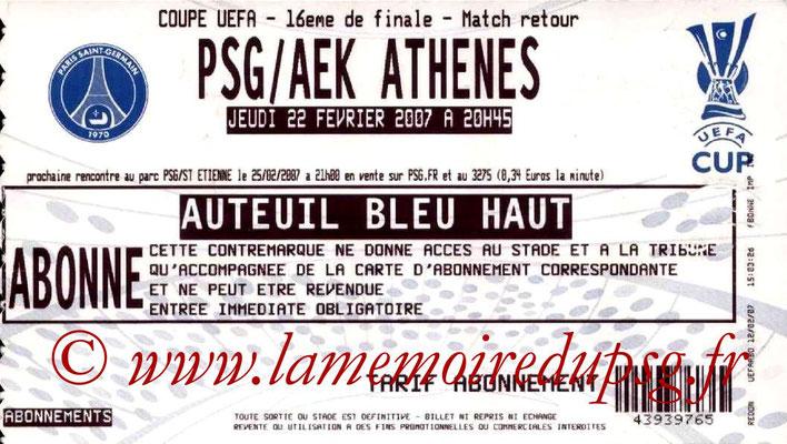 Tickets  PSG-AEK Athènes  2006-07