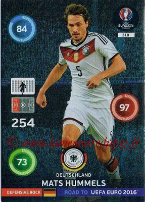 Panini Road to Euro 2016 Cards - N° 318 - Mats HUMMELS (Allemagne) (Defensive Rock)