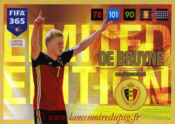 2016-17 - Panini Adrenalyn XL FIFA 365 - N° LE52 - Kevin DE BRUYNE (Belgique) (Limited Edition)