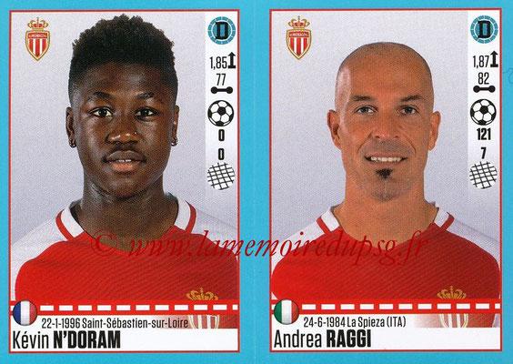 2016-17 - Panini Ligue 1 Stickers - N° 490 + 491 - Kévin N'DORAM + Andrea RAGGI (Monaco)
