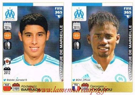 2015-16 - Panini FIFA 365 Stickers - N° 412-416 - Abdelaziz BARRADA + Georges N'KOUDOU (Olympique de Marseille)