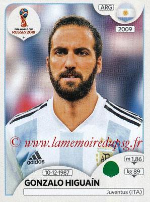2018 - Panini FIFA World Cup Russia Stickers - N° 291 - Gonzalo HIGUAIN (Argentine)