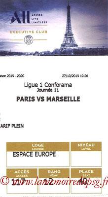 Tickets  PSG-Marseille  2019-20