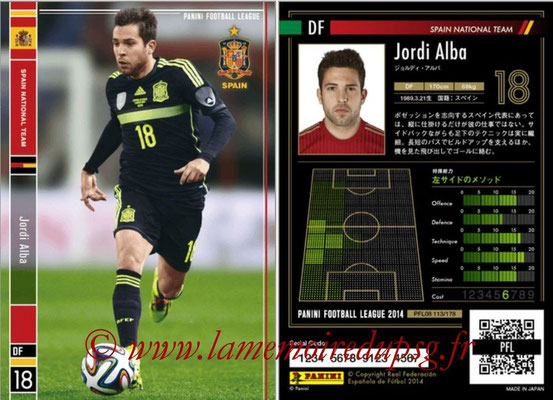 Panini Football League 2014 - PFL08 - N° 113 - Jordi ALBA (Espagne)