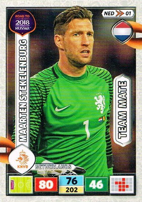 2018 - Panini Road to FIFA World Cup Russia Adrenalyn XL - N° NED01 - Maarten STEKELENBURG (Pays-Bas)