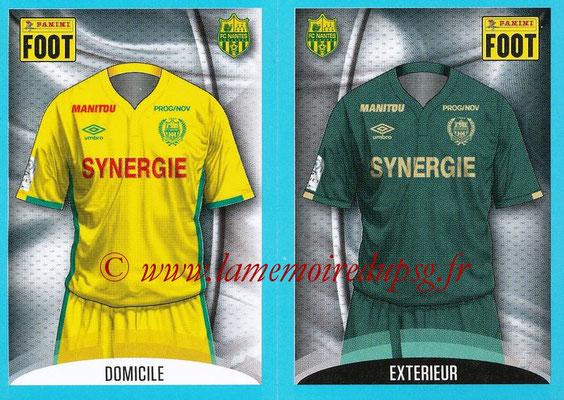 2016-17 - Panini Ligue 1 Stickers - N° 594 + 595 - Maillot Domicile + Extérieur (Nantes)