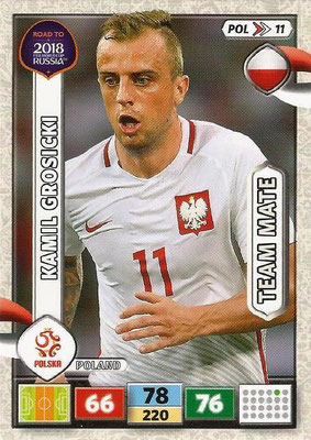 2018 - Panini Road to FIFA World Cup Russia Adrenalyn XL - N° POL11 - Kamil GROSICKI (Pologne)