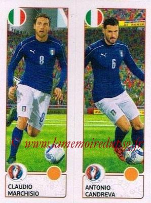 Panini Euro 2016 Stickers - N° 495 - Claudio MARCHISIO + Antonio CANDREVA (Italie)