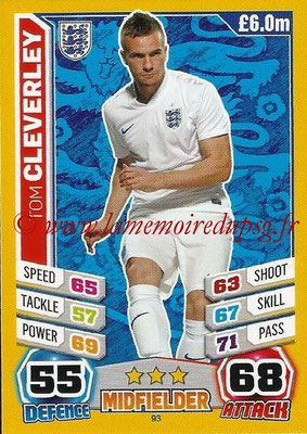 Topps Match Attax England 2014 - N° 093 - Tom CLERVERLEY (Angleterre)