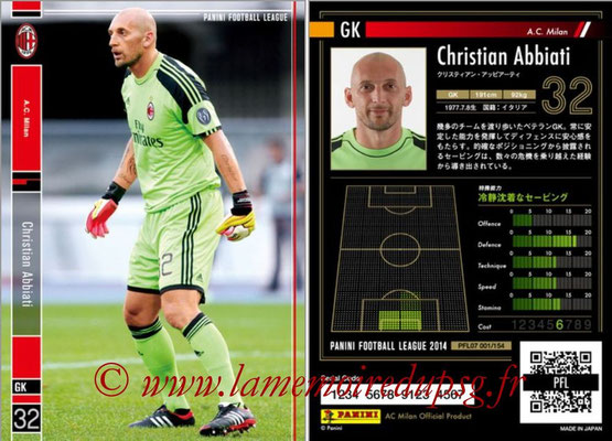 Panini Football League 2014 - PFL07 - N° 001 - Christian ABBIATI (Milan AC)