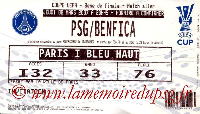 Tickets  PSG-Benfica  2006-07