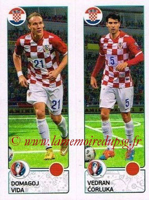 Panini Euro 2016 Stickers - N° 433 - Domagoj VIDA + Vedran CORLUKA (Croatie)