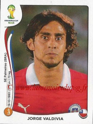 2014 - Panini FIFA World Cup Brazil Stickers - N° 155 - Jorge VALDIVIA (Chili)