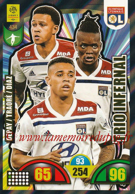2018-19 - Panini Adrenalyn XL Ligue 1 - N° 434 - Memphis DEPAY + Bertrand TRAORE + Mariano DIAZ (Lyon) (Trio Infernal)