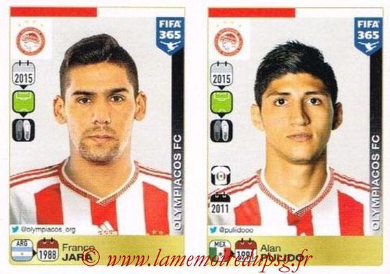 2015-16 - Panini FIFA 365 Stickers - N° 549-550 - Franco JARA + Alan PULIDO (Olympiacos FC)
