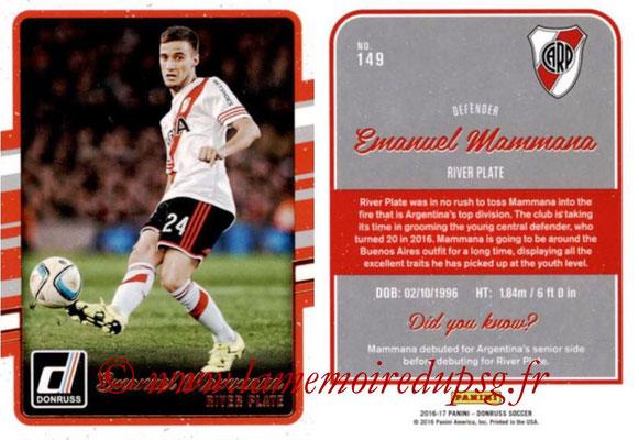 2016 - Panini Donruss Cards - N° 149 - Emanuel MAMMANA (River Plate)