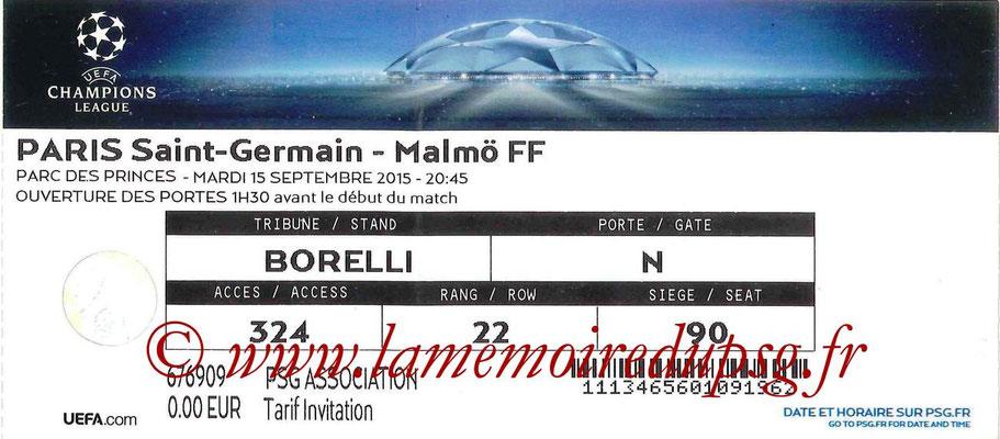 Tickets  PSG-Malmo  2015-16