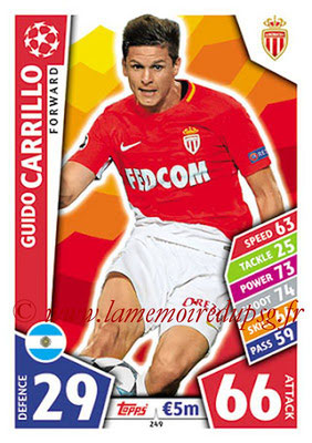 2017-18 - Topps UEFA Champions League Match Attax - N° 249 - Guido CARRILLO (AS Monaco)