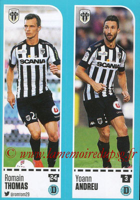 2016-17 - Panini Ligue 1 Stickers - N° 012 + 013 - Romain THOMAS + Yoann ANDREU (Angers)
