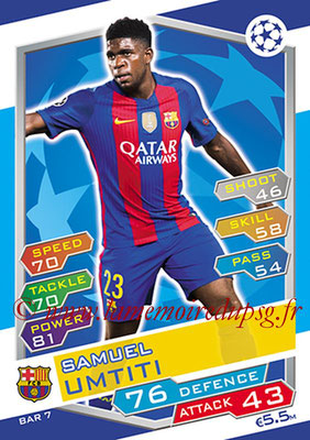 2016-17 - Topps UEFA Champions League Match Attax - N° BAR7 - Samuel UMTITI (FC Barcelone)