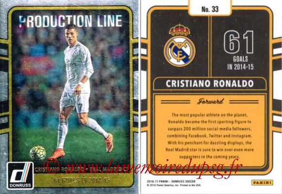 2016 - Panini Donruss Cards - N° PL33 - Cristiano RONALDO (Real Madrid CF) (Production Line)