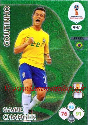 2018 - Panini FIFA World Cup Russia Adrenalyn XL - N° 447 - Philippe COUTINHO (Bresil) (Game Changer)
