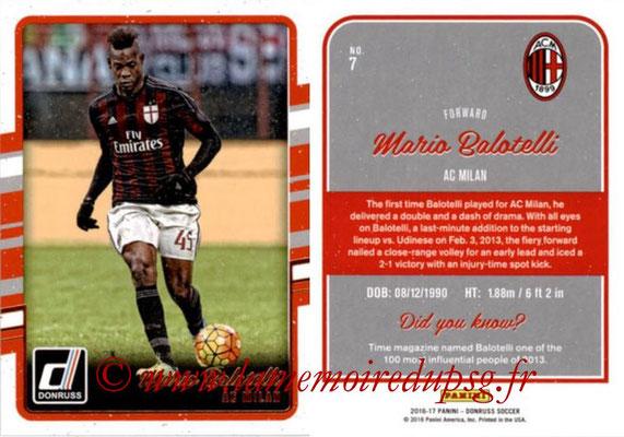 2016 - Panini Donruss Cards - N° 007 - Mario BALOTELLI (Milan AC)