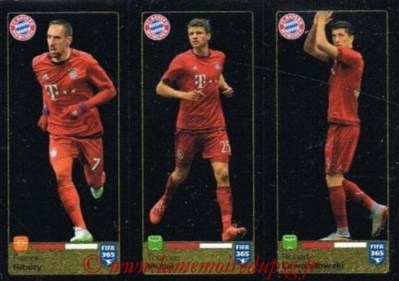 2015-16 - Panini FIFA 365 Stickers - N° 480-481-482 - Franck RIBERY + Thomas MÜLLER + Robert LEWANDOWSK (FC Bayern Munich)