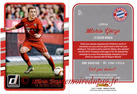 2016 - Panini Donruss Cards - N° 037 - Mario GÖTZE (FC Bayern Munich)