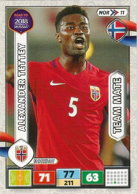 2018 - Panini Road to FIFA World Cup Russia Adrenalyn XL - N° NOR11 - Alexander TETTEY (Norvège)