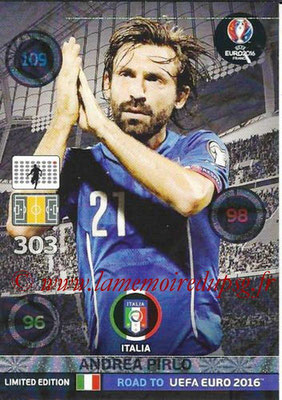 Panini Road to Euro 2016 Cards - N° LE-AP - Andrea PIRLO (Italie) (Limited Edition)