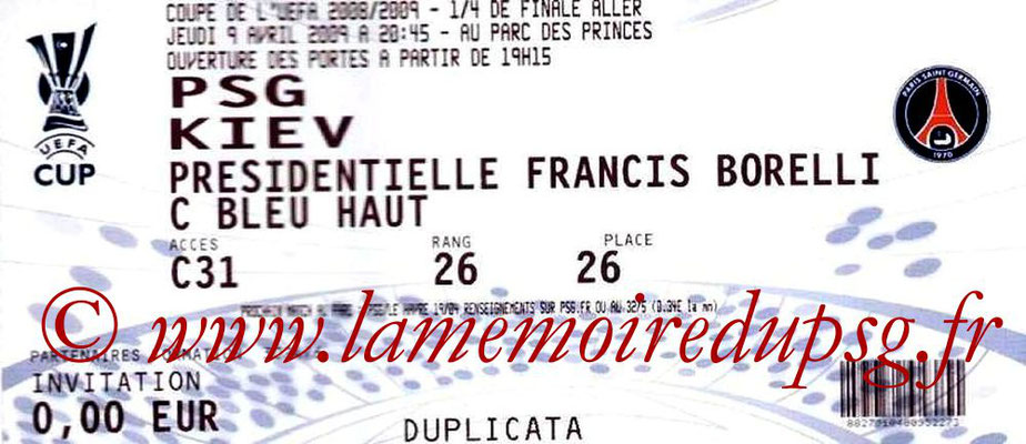 Ticket  PSG-Kiev  2008-09