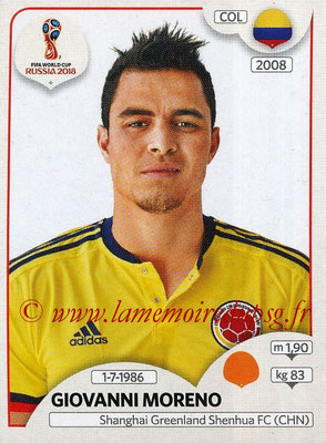 2018 - Panini FIFA World Cup Russia Stickers - N° 644 - Giovanni MORENO (Colombie)