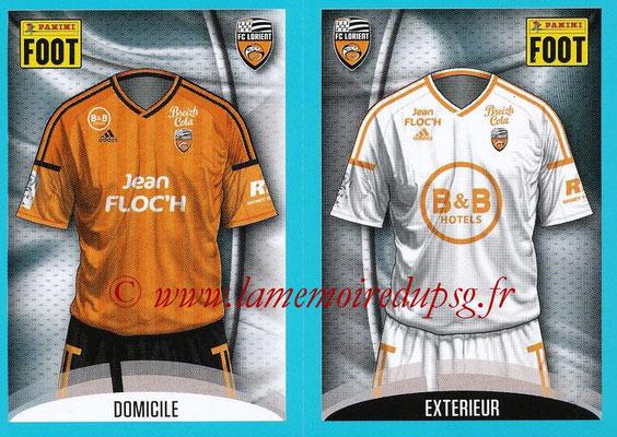 2016-17 - Panini Ligue 1 Stickers - N° 300 + 301 - Maillot Domicile + Extérieur (Lorient)