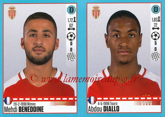 2016-17 - Panini Ligue 1 Stickers - N° 484 + 485 - Medhi BENEDDINE + Abdou DIALLO (Monaco)