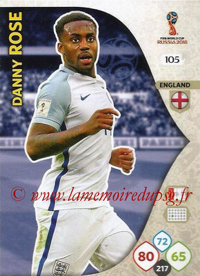 2018 - Panini FIFA World Cup Russia Adrenalyn XL - N° 105 - Danny ROSE (Angleterre)